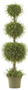 EF-3392 5.5' Mini Tea Leaf Triple Ball Topiary