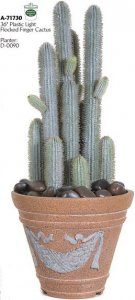 "A-71730 36"" Plastic Light Flocked Finger Cactus with Needles - 10"" Width - 13 Green Lvs - Brown Tips - Weighted Base"