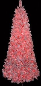 Heavy Flocked Pink Christmas Tree - Slim Size - 918 Pink Tips - 650 Pink Lights