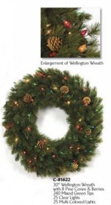 "30"" Wellington Wreath - 8 Pine Cones and Berries - 50 Multi-Colored Lights"