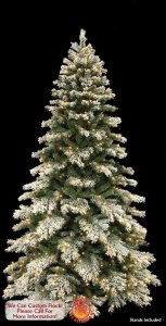 "C-90131 9' Flocked Mountain Pine Tree - Full - 1,882 Tips - 800 Clear Mini Lights - 63"" Width - Wire Stand"