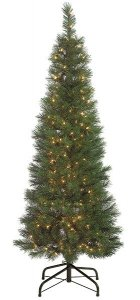 "C-60125 7.5' Pencil Pine Tree - 397 Green Tips - 450 Clear All-Lit Lights - 34"" Width - Metal Stand"