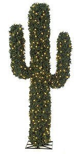 C-120218 4' PVC Pine Cactus - 1,544 Green Tips - 200 Clear LED Lights - Metal Base