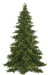 "C-9758 9' Nikko Fir Tree - 4,319 Green Tips - 855 Warm White 5mm LED Lights - 76"" Width - Wire Stand"