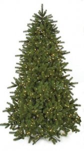 C-90178 7.5' Douglas Fir Tree - Full - 1,852 Green Plastic & PVC Tips - 750 Warm White 5mm LED Lights