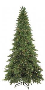 9' Sky Fir Christmas Tree - Slim Size - 3,232 Green Tips - 850 Clear Lights