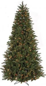 C-90922 7.5' Eastern Fir Tree - Slim - 1,918 Plastic/PVC Green Tips - 650 Multi-Colored Lights