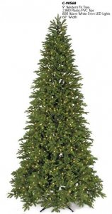 C-90568 9' Western Fir Tree - Slim - 2,880 PVC/Plastic Green Tips - 800 Warm White 5 mm LED Lights