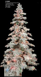 "C-91052 9' Flocked Mountain Pine Tree - Full - 1,882 Tips - 750 Multi Color Mini Lights - 63"" Width - Wire Stand"