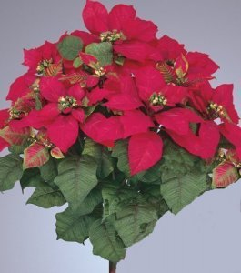 "EF-740 Large 22""Poinsettia 9 6.5"" to 11"" –Silk Blooms, 2–4.75"" Buds, 70–3"" to 4.5"" Leaves. Red"