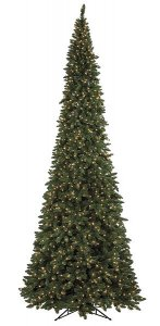 "C-70128 12' Pencil Pointed Spruce Tree - Slim - 3,595 Green Tips - 1,350 Clear 5 MM LED Lights 60"" Width - Metal Stand"