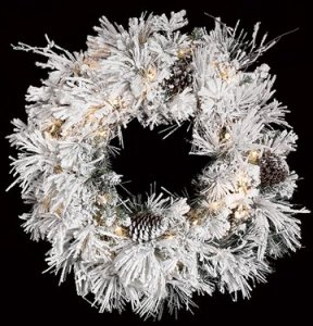 "C-70411 34"" Flocked Long Twig Pine Wreath - Triple Ring - 110 White Tips - 50 Clear Lights - 12 Pine Cones"
