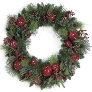 "A-72040 24"" Mixed Pine Wreath with Apple, Berries, and Cedar - Triple Ring - Red/Green"