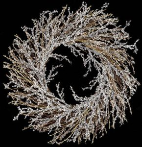 "A-3044 24"" Plastic Ice Twig Wreath - Twig Base - White"