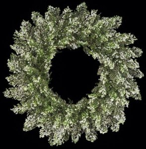 "A-3042 24"" Plastic Iced Cypress Wreath - Triple Ring - Green/Silver"