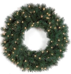 "C-70731 28"" Glittered Spruce Wreath - Triple Ring - 150 Green Tips - 50 Clear Lights"