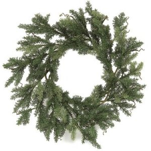 "A-3048 28"" Plastic Cypress Wreath - Single Ring - 404 Mixed Green Tips"