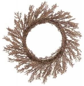 "A-3033 28"" Plastic Ice Wreath - Twig Base - Red/Copper"