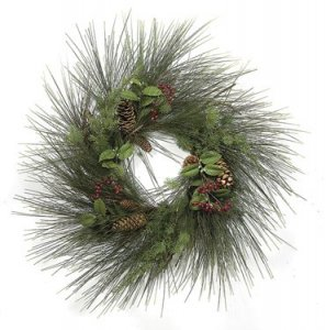 C-71690 30 inch Mixed Long Leaf Pine Wreath with Twig Base, Red Crabapples & Pine Cones