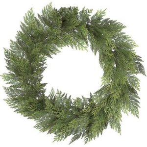 "C-0642 30"" Plastic Cedar Wreath - Triple Ring - 108 Tips - Green"