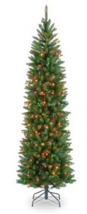 "EF-30075 7.5 Kingswood Pencil Pine Christmas Tree - 1,075 Green Tips - 350 Multi Colored Lights 26"" Width - Wire Stand"