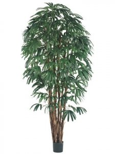 EF-318 8' Rhapis Tree x7 w/1400 Lvs. in Pot Two Tone Green(Sold in 2 pc set) **Price is for 2 Trees