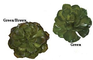 "A-82070 6.5"" Plastic Succulent Pick - Green OR Green/Brown Leaves - 6"" Wide - Bare Stem (Sold in a 4pc set)"