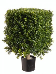 "EF-221  21"" Tall Plastic Boxwood Square Topiary 14"" Boxwood height Foliage 12"" Wide Indoor/Outdoor (***Price is for a set of 2 PC)"