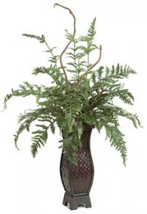 "P-84740 30"" x 26"" Fern in Bamboo Planter - 24 Green Fronds"