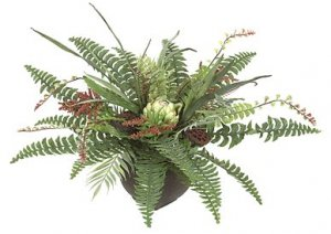 "P-80210 15"" Mixed Arrangement with Boston Fern and Artichoke - 32"" Width - Brown Square Pot"