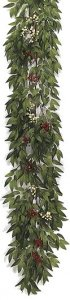 "P-85560 9' Smilax/Berry Garland - Green Leaves - 10 Red Berry Clusters - 12 White Berry Clusters - 13"" Width"