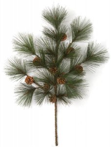 "32"" PVC Pine Branch - 17 Tips - 9 Pine Cones - Green"