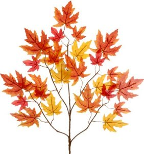 "EF-497 29"" Autumn Maple Branch 25 Leaves (Sold Per Dozen)  Orange/Yellow"