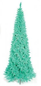 "C-100431 7.5' Ashley Aqua Slim Tree 1,077 Aqua Tips, 800 Aqua Lights 41"" Wide"