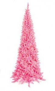 "C-100411 7.5' Ashley Baby Hot Pink Slim Tree 1,077 Tips, 800 Baby Hot Pink Lights 41"" Wide"