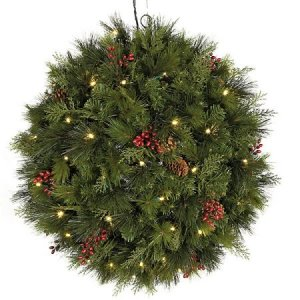 "26"" Hanging Mixed Pine Ball - 50 Warm White 5mm LED Lights"