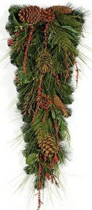 "C-100800 32"" Austrailian Pine Teardrop Pine Cones and Red Berry Twigs"