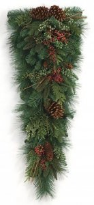 "C-84030 36"" Mix Pine Teardrop Pine Cones/Red Berries/Juniper Berries/Twigs"