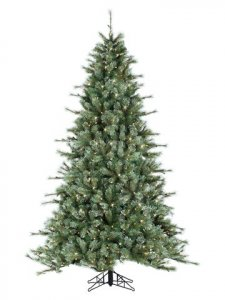 "EF-Y0L809-GR/LT 9'Hx66""D Bear Bristle Pine Tree x2590 w/900 Smart All-Lit Clear Lights on Metal Base Light Green"