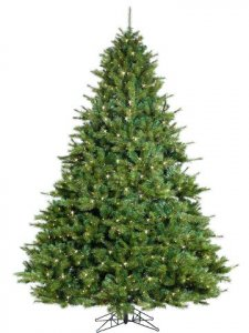 "EF-Y0T507-GR 7.5'Hx66""D Northern Fir Pine Tree x1773 w/800 Smart All-Lit Clear Lights on Metal Stand Green"