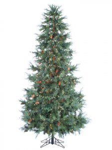 "EF-Y7D790-GR 9'Hx60""D Cedar Tree x2476 w/Large Cones & 1100 Clear Lights & Switch on Metal Stand"