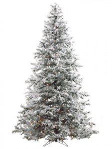"EF-Y9J490-SN 9'Hx66""D Washburn Flocked Snow Tree x1834 w/750 Clear Lights in Metal Base"