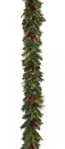 "EF-X140 6' Long 1"" to 1.25"" Natural Cones, .50"" Berries, 5.50"" to 8.50"" PVC Poly Pine. Color: Green with Natural Cones & Red Berries"