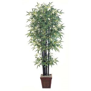 EF-1578 7' Bamboo Tree Natural Black Bamboo Trunks w/2191 Lvs