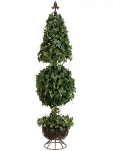 EF-LPI852-GR/TT 4' Cone/Ball-Shaped Ivy Topiary w/Finial & 864 Lvs. on Metal Stand Two Tone Green
