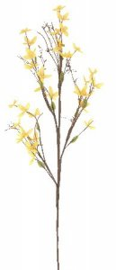 "EFS-106 30"" FORSYTHIA 30-1"" to 2"" Blooms, 12-1"" Leaves. Hand wrapped wood stems Yellow(Sold Per Dz Set)"
