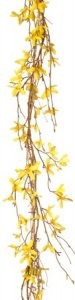 "EF-375 6' FORSYTHIA GARLAND 156-1.25"" to 2"" Silk Blooms, Natural Grapevine Twigs. Color: Yellow(Sold im a 3 PC Set)"