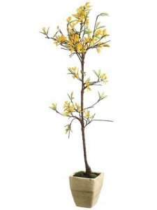 "EF-LFF443-YE 35"" Forsythia Topiary in Terra Cotta Pot Yellow(Sold in a 4 PC Set)"