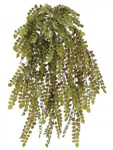 "EF-008 23.5"" Plastic Button Fern Hanging Bush Green Indoor/Outdoor (Sold in a 4 pc Set)"
