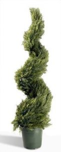 EF-603  5' Spiral Cypress/Juniper Topiary 2,214 Leaves Green Indoor/Outdoor